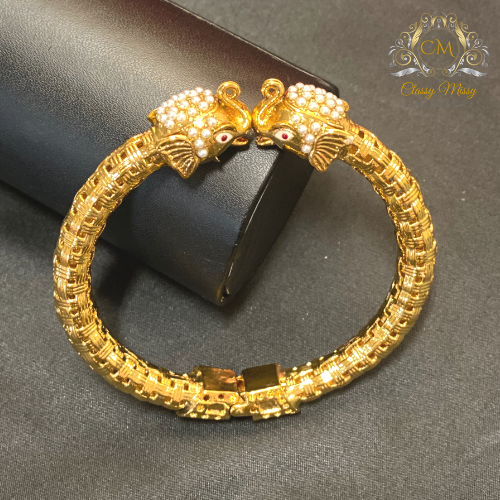 Antique Gold beaded Elephant  - kada