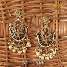 Load image into Gallery viewer, Flower pot stone Mehandi polish polki Earring - Classy Missy by Gur