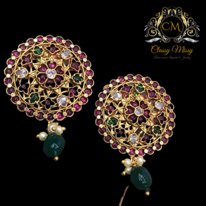 Ruby Green Gold plated Pearl Drop Earrings