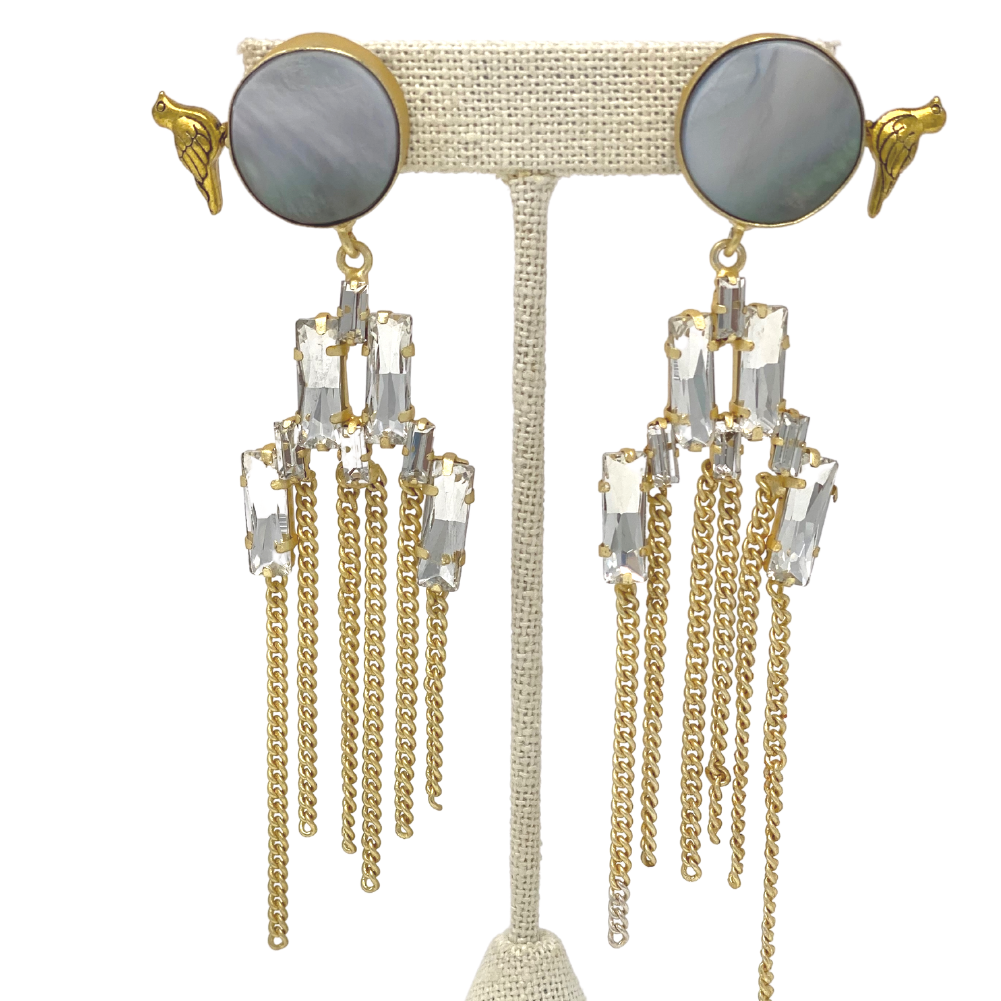 Earrings - shell stone with hanging strings