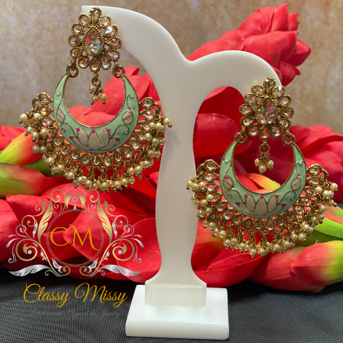 Meenakari Stone Studded Green Chandbali Earrings