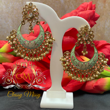 Load image into Gallery viewer, Meenakari Stone Studded Green Chandbali Earrings