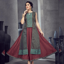 Load image into Gallery viewer, Maroon and Green Kurti