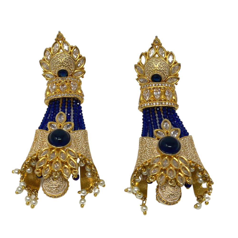 Kundan Meenakari beaded long earrings