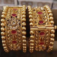 Load image into Gallery viewer, Gold Kundan ruby kada