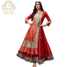 Load image into Gallery viewer, Red Festive Wear Cotton Silk Anarkali Kurti