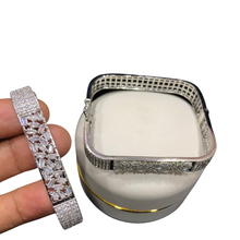 Load image into Gallery viewer, Square Silver Plated Cuff Kada Bangle Bracelet For Girls/Women