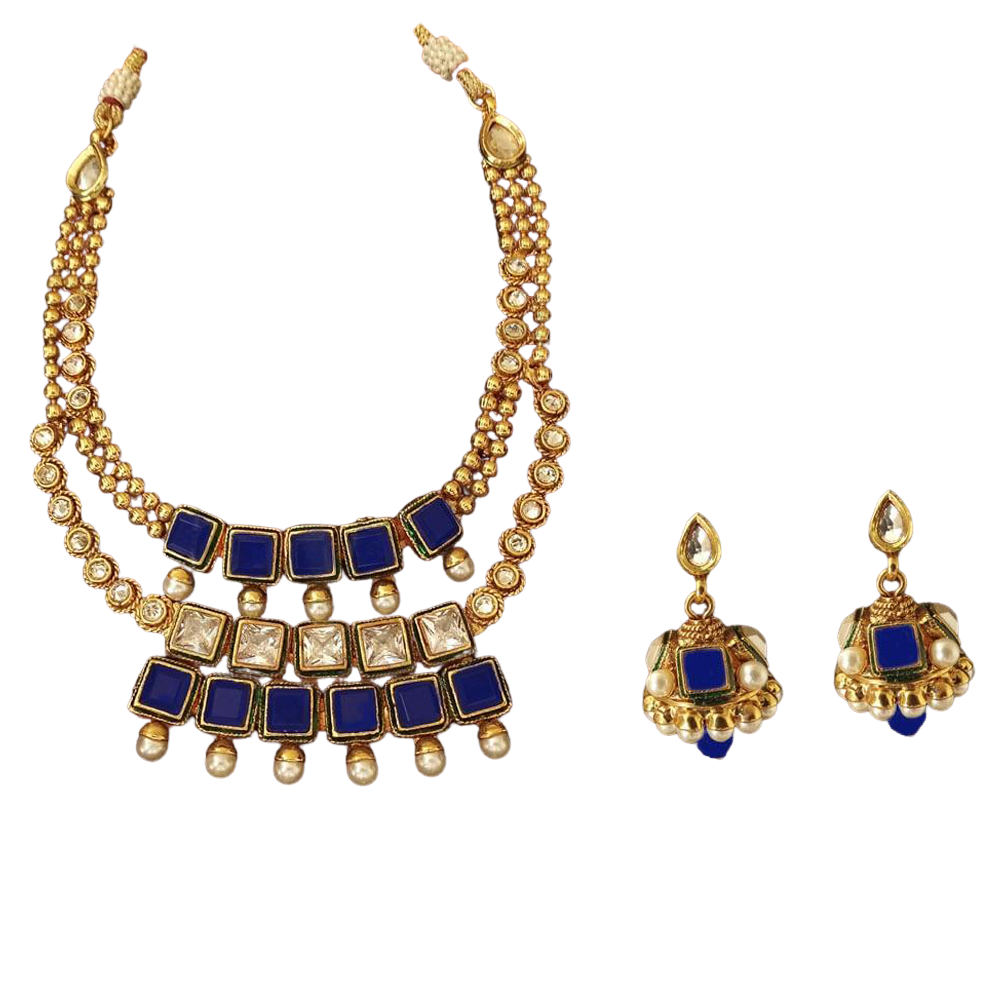 Square triple layered polki necklace set