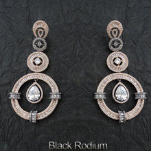 Load image into Gallery viewer, Big circle design black rodium full ad earring