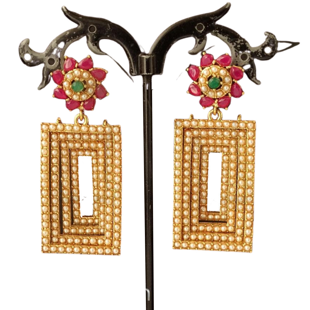Square shape full pearl polki earring