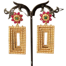 Load image into Gallery viewer, Square shape full pearl polki earring