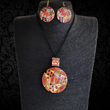 Load image into Gallery viewer, Textured terracotta pendent set and earing