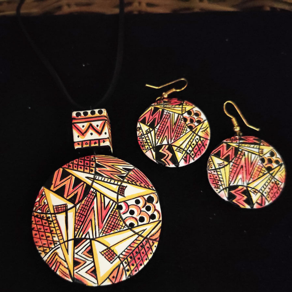 Textured terracotta pendent set and earing