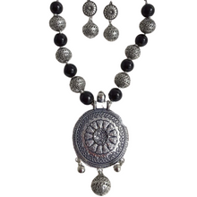 Load image into Gallery viewer, Vintage Button  Silver Plated Necklace