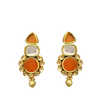 Load image into Gallery viewer, Rounded triangular base kundan earring