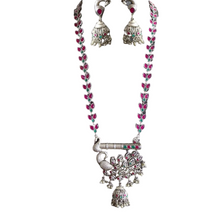Load image into Gallery viewer, Peacock base long necklace set