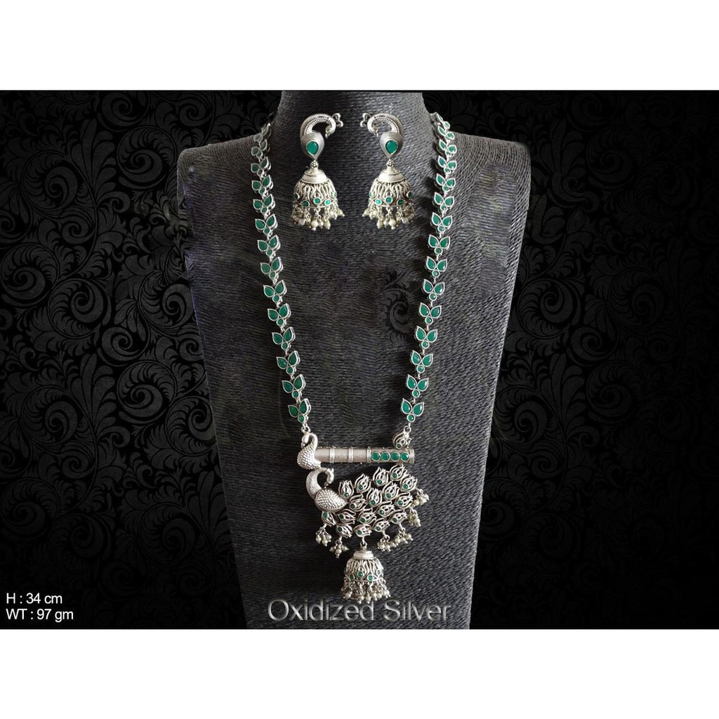 Peacock Base Long Necklace Set - Classy Missy by Gur