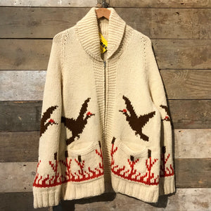 Stunning and rare true vintage 1950s–60s Cowichan cardigan featuring flying ducks.