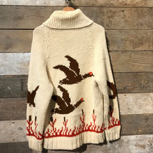 Load image into Gallery viewer, Stunning and rare true vintage 1950s–60s Cowichan cardigan featuring flying ducks.