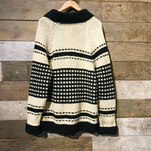 Load image into Gallery viewer, True vintage Cowichan cardigan in cream and black.
