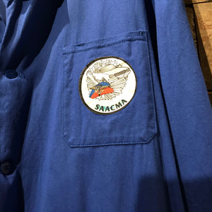French long blue chore/warehouse coat. Very good vintage condition with SAACMA patch