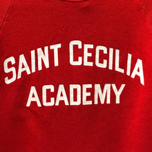 Load image into Gallery viewer, Red Vintage Sweatshirt. Saint Cecilia Academy. Made in USA. Size XL