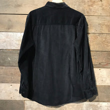 Load image into Gallery viewer, Black Corduroy Shirt. With diagonal Corduroy. Size L
