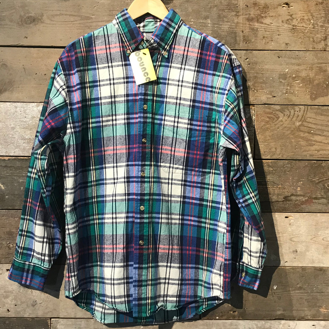 Lands'End Thick Cotton Shirt in a colourful check. Size M