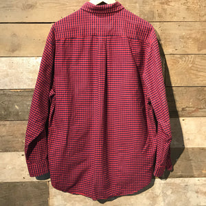 Red and Blue Thick Check Cotton Shirt Size L