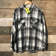 Load image into Gallery viewer, Black and Grey Check Flannel Shirt. Size XL