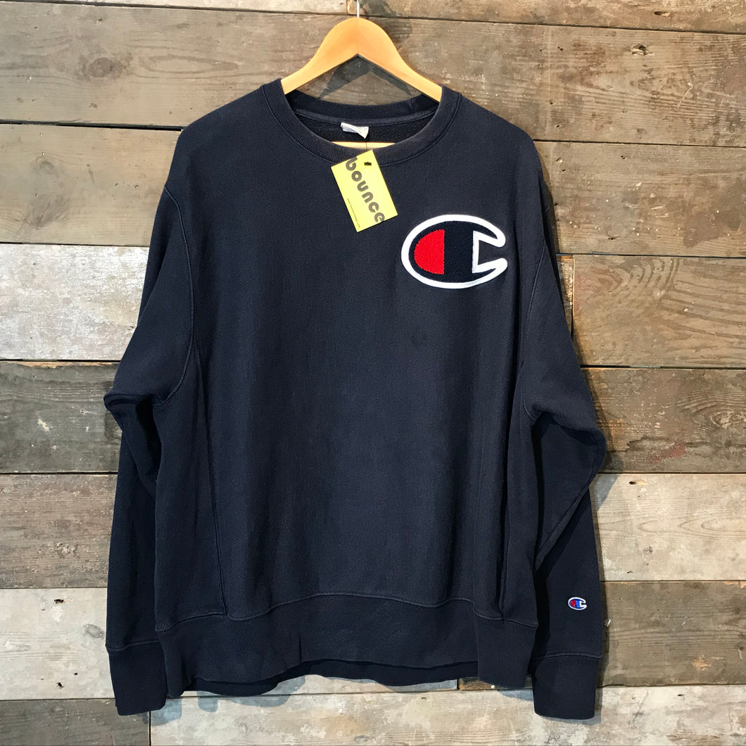 Vintage Champion Reverse Weave Sweatshirt with Large Flock Logo in Black. Size L.