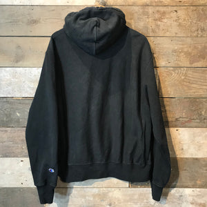 Vintage Champion Reverse Weave Hoodie in Black. Size XL.