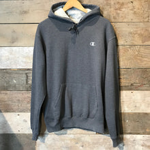 Load image into Gallery viewer, Dark grey vintage Champion Hoodie with champion C logo on chest. Size M