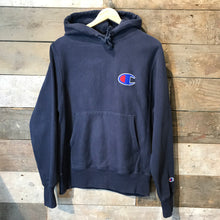 Load image into Gallery viewer, Vintage Champion Reverse Weave Hoodie with Large C Logo in navy blue. Size S.