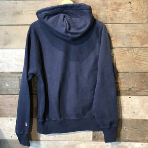 Vintage Champion Reverse Weave Hoodie with Large C Logo in navy blue. Size S.