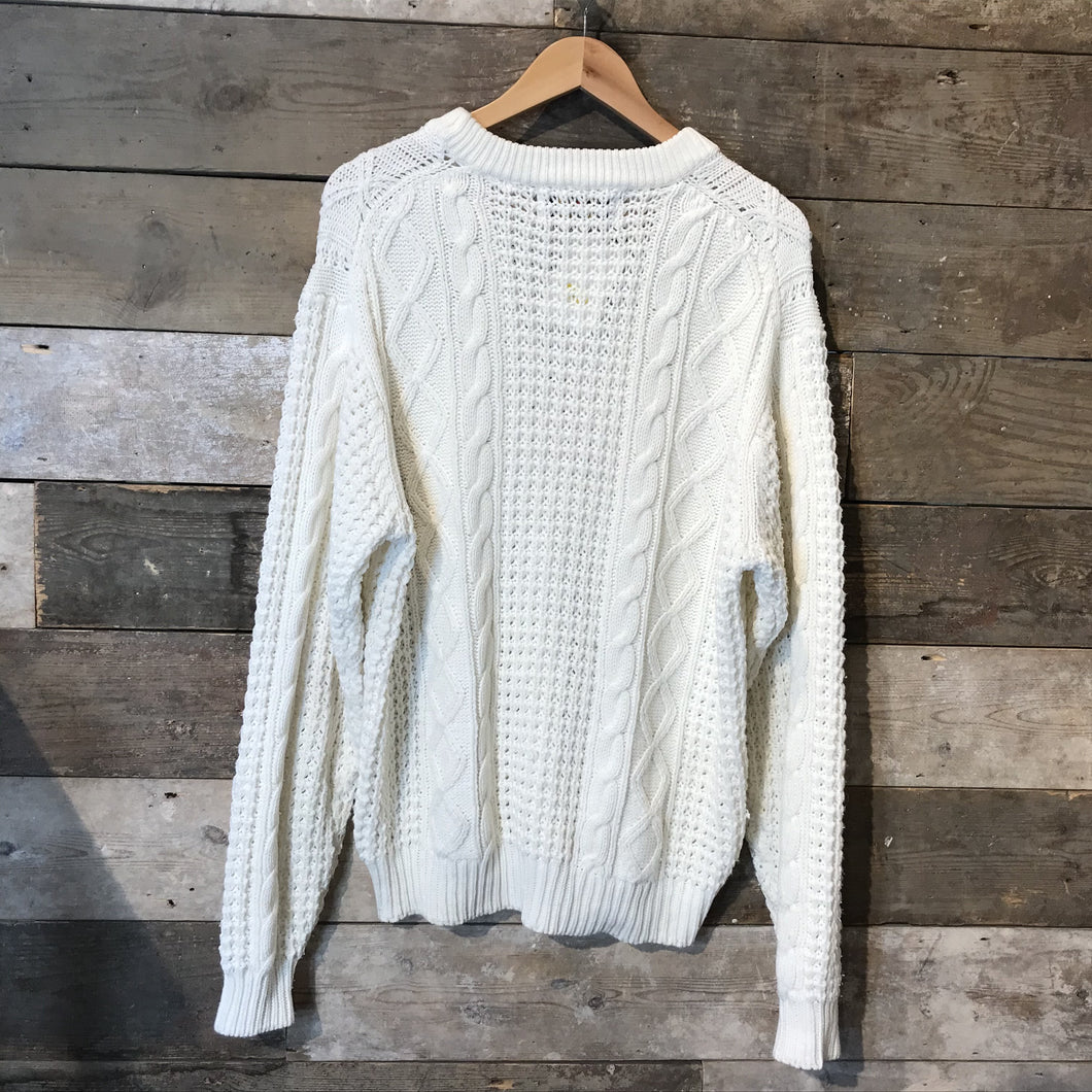 White Aran Knit Jumper. Size L