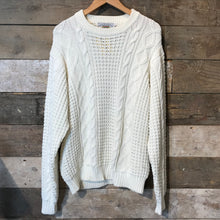 Load image into Gallery viewer, White Aran Knit Jumper. Size L