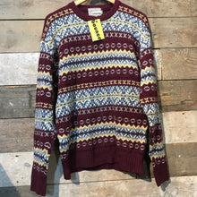 Load image into Gallery viewer, Woollen Maroon Fair Isle Knit Jumper Size L