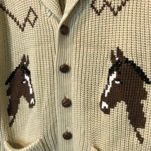 Load image into Gallery viewer, Vintage Beige Western Horse Knit Cardigan Size M