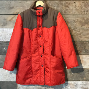 Vintage Red and Brown Quilted Long Jacket by White Bear Size M