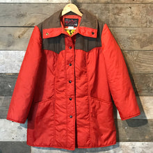 Load image into Gallery viewer, Vintage Red and Brown Quilted Long Jacket by White Bear Size M