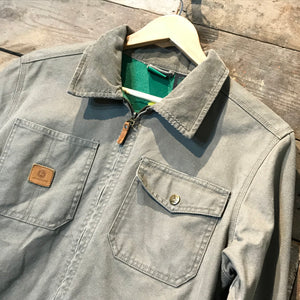 John Deere Classic Zip Up Flannel Lined Chore Coat in Taupe. Size M/L