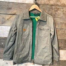Load image into Gallery viewer, John Deere Classic Zip Up Flannel Lined Chore Coat in Taupe. Size M/L