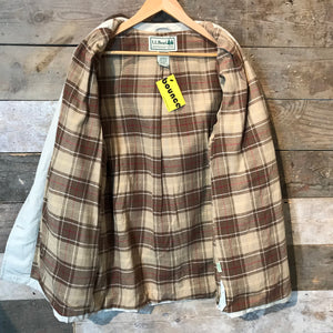 LL Bean Flannel Lined Canvas Button Up Barn Coat Size L