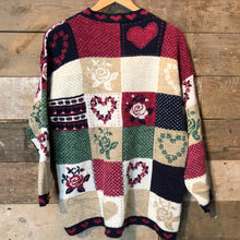 Load image into Gallery viewer, 90's Patchwork Heart Fashion Knitwear Jumper Size L