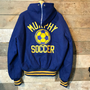 Murphy Soccer Wool Letterman College Jacket in Blue with yellow hood lining. Size L.