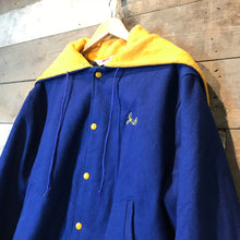 Load image into Gallery viewer, Murphy Soccer Wool Letterman College Jacket in Blue with yellow hood lining. Size L.