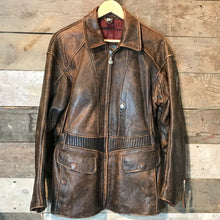 Load image into Gallery viewer, Vintage Brown Leather 3/4 length Biker Jacket. Size M