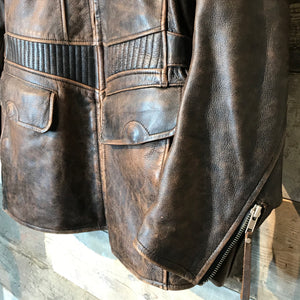 Vintage Brown Leather 3/4 length Biker Jacket. Size M