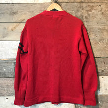"Load image into Gallery viewer, True Vintage Red 1956 College Letterman Cardigan 100% Wool Size M (40"")"